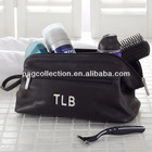 Personalized Black Leather Toiletry Bag neoprene cosmetic bag