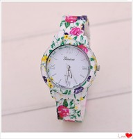 Fashion Women Floral Geneva Platinum Watch New Vogue Printed Flower Casual Watch