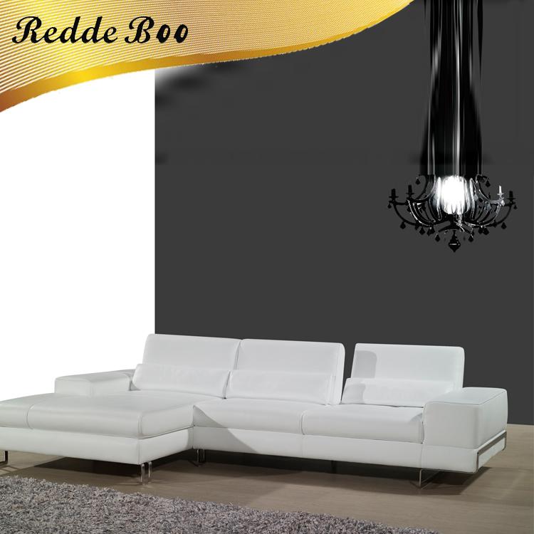 Salón Europeo sofá seccional sofá moderno blanco L forma sofá 9114 ...