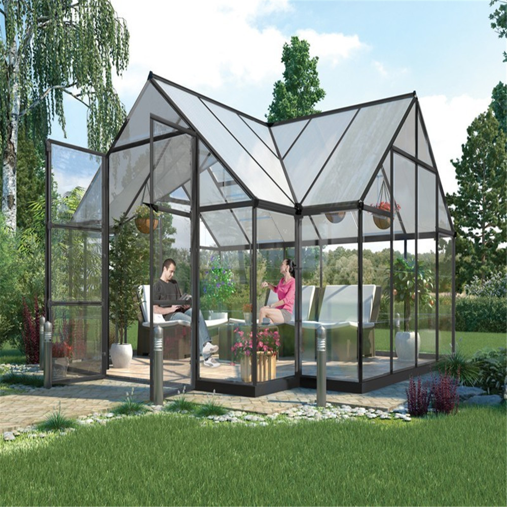 galvanized steel frame plastic commercial tropical garden greenhouse for sale anti fog