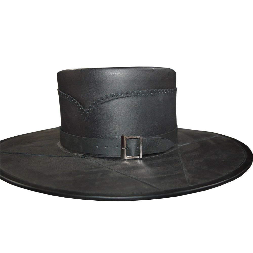 Nasir Ali NEW BRANDED HEAD N HOME BLACK LEATHER HAND CRAFTED STYLE HAT PURE LEATHER HAT