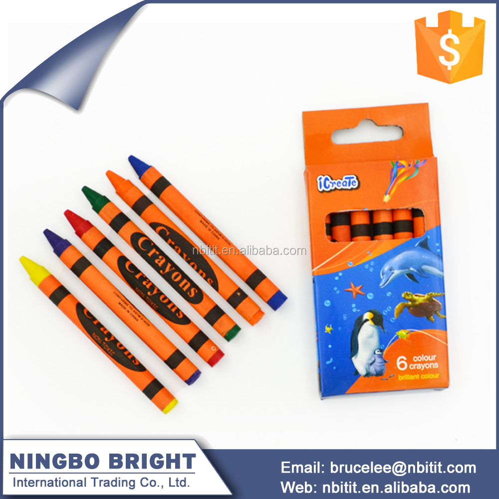High quality Color box set 6 pack kids drawing crayons