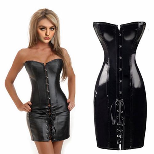7cb8f70db0 Get Quotations · 2015 Sexy Corset Steampunk Dress Overbust Waist Training Corsets  Black Bodyshaper Bustier Corselet Corpete Overbust
