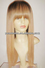 Hot T color 2/27# silky straight full lace wig with blunt bang