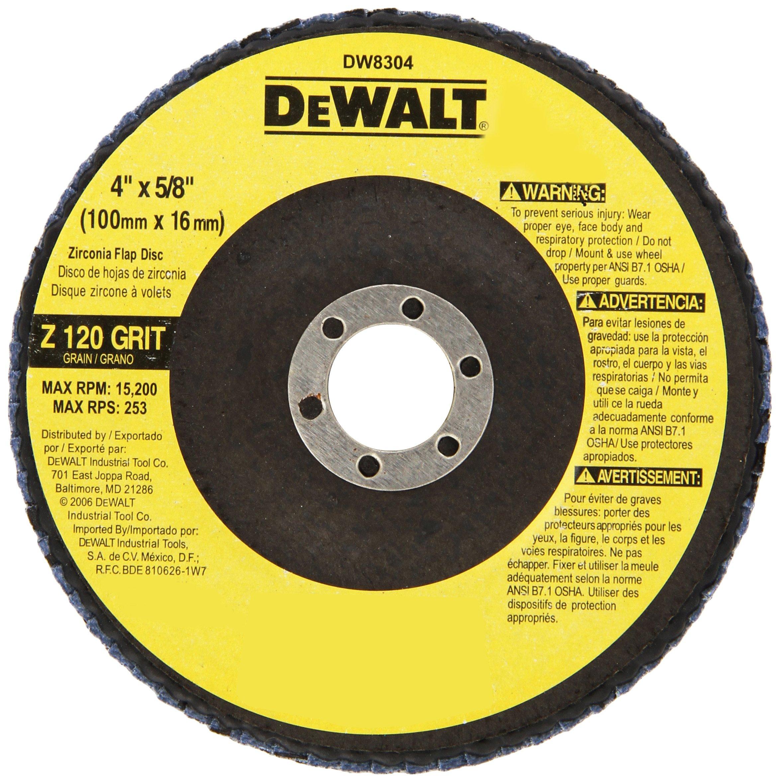 DEWALT DW8304 4-Inch by 5/8-Inch 120 Grit Zirconia Angle Grinder Flap Disc