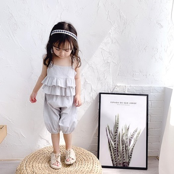 New 2019 summer Korean striped suspenders girl shorts two piece set