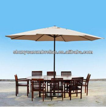 13 Ft Feet Beige Aluminum Outdoor Patio Umbrella Deck Gazebo Sun Shade Cover