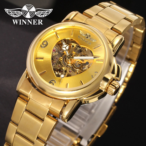 China Factory T- winner Luxury 2018 OEM Gold Lady Sport Mechanical Automatic Women Watch Skeleton Custom logo Wholesale Watches