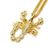 Shiny Gold Hip Hop Scorpion Pendant Necklace For Men