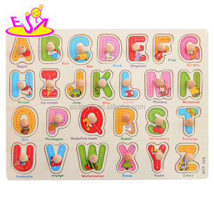 New hottest educational wooden alphabet jigsaw puzzle board for kids 18m+ W14M106