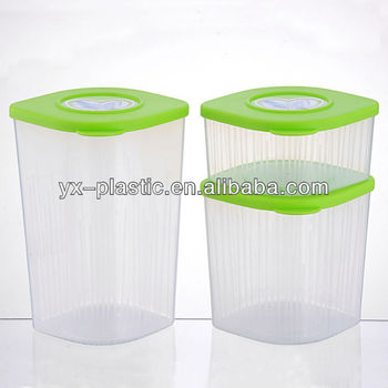 Kitchen Clear Square Plastic Food Storage Canisters Set