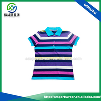 Hot Selling Combed Cotton Spandex Stripe Ladies Golf Polo Shirt