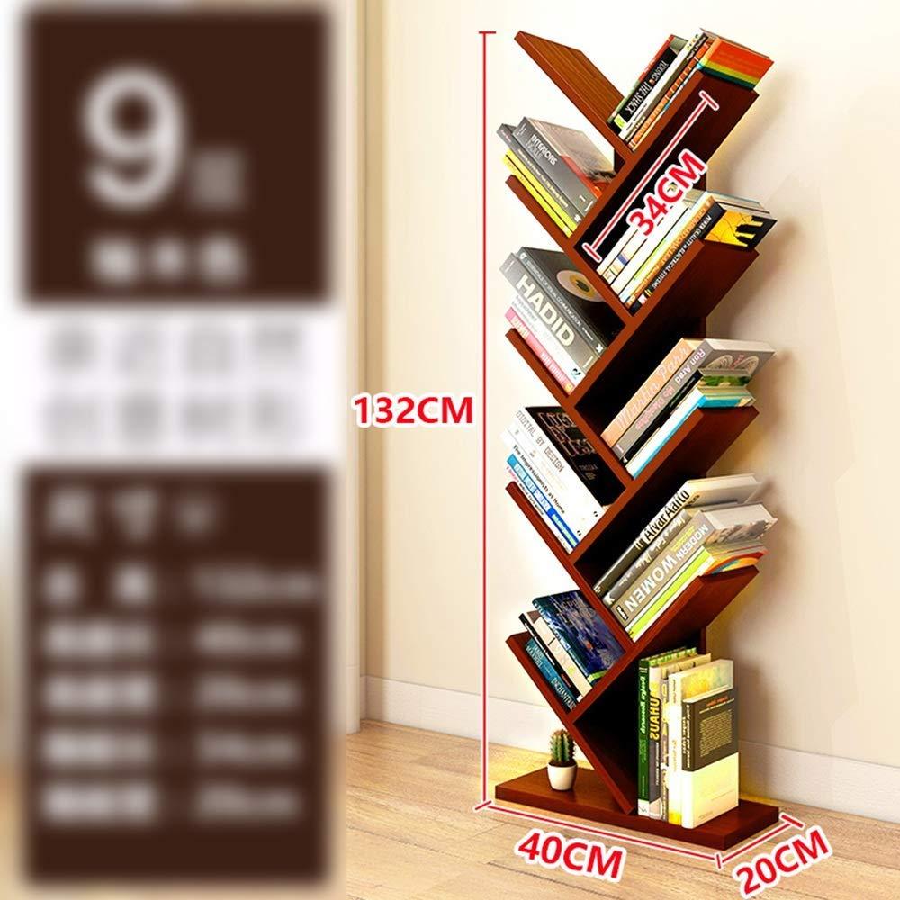 ZR- 9-Shelf Tree Bookshelf, Tree Shape Floorstanding Bookshelf, Modern Bookshelves Wooden Tree Shaped Bookcase Simple Living Room Storage Organizer Shelf (Color : Teak)