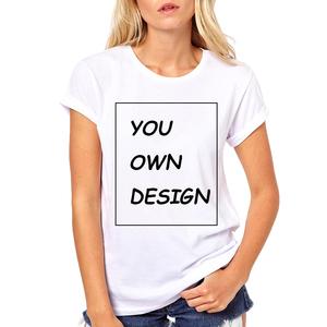 Summer Women oem fashion white cotton custom logo print t-shirt