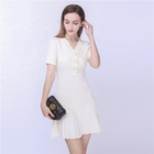 Summer ladies new casual short sleeve v-neck knit pleated sweater dress women