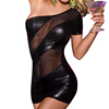 Mesh and Leather material sexy school girl one piece clubwear hot exotic black dance wear