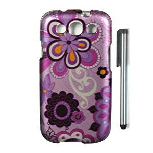 "PURPLE DAISY Premium Design Cover Protector Case + STYPEN, Perfect fit for SAMSUNG GALAXY S III S3 AT&T (SGH-i747), US Celluar, T-Mobile (SGH-T999), Sprint (SPH-L710), Verizon (SCH-i535) and International (GT-i9300) [4"" Height, Random Color- Black, Silver, Hot Pink, Green, Light Green, Red, Blue,"