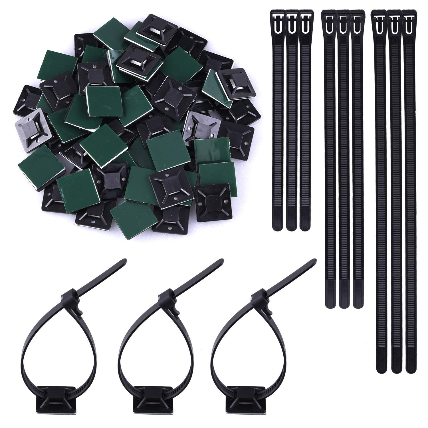 SIQUK 120 Pieces Zip Ties Reusable Nylon Cable Ties 6/8/10 Inch Black Tie Wraps 0.28 Inch Width Heavy Duty Zip Tie with 60 Pieces Self Adhesive Zip Tie Mounts