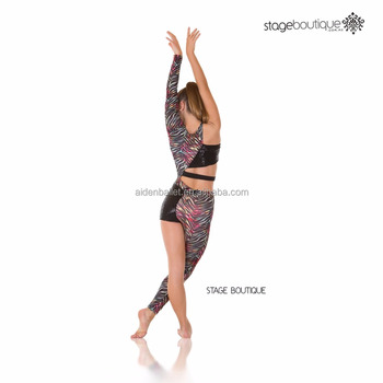 Contemporary Acro Jazz Unitard Black Animal Print Dance Costume Costumes