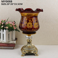European style decor glass decorative flower vase stand for living room decoration