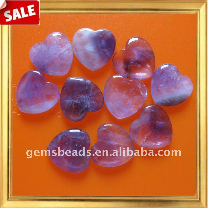 Wholesale 25mm gemstone amethyst heart natural precious stone