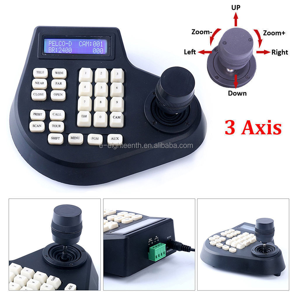 3D CCTV LCD Screen Display joystick keyboard controller for PTZ Camera (3 Axis)