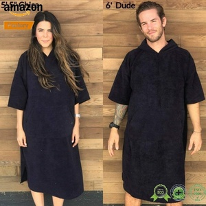 Wholesale 100% Organic Cotton Men Beach Hood Towel Poncho Surf Comfort Adult Apron Hooded Bath Blanket Towel