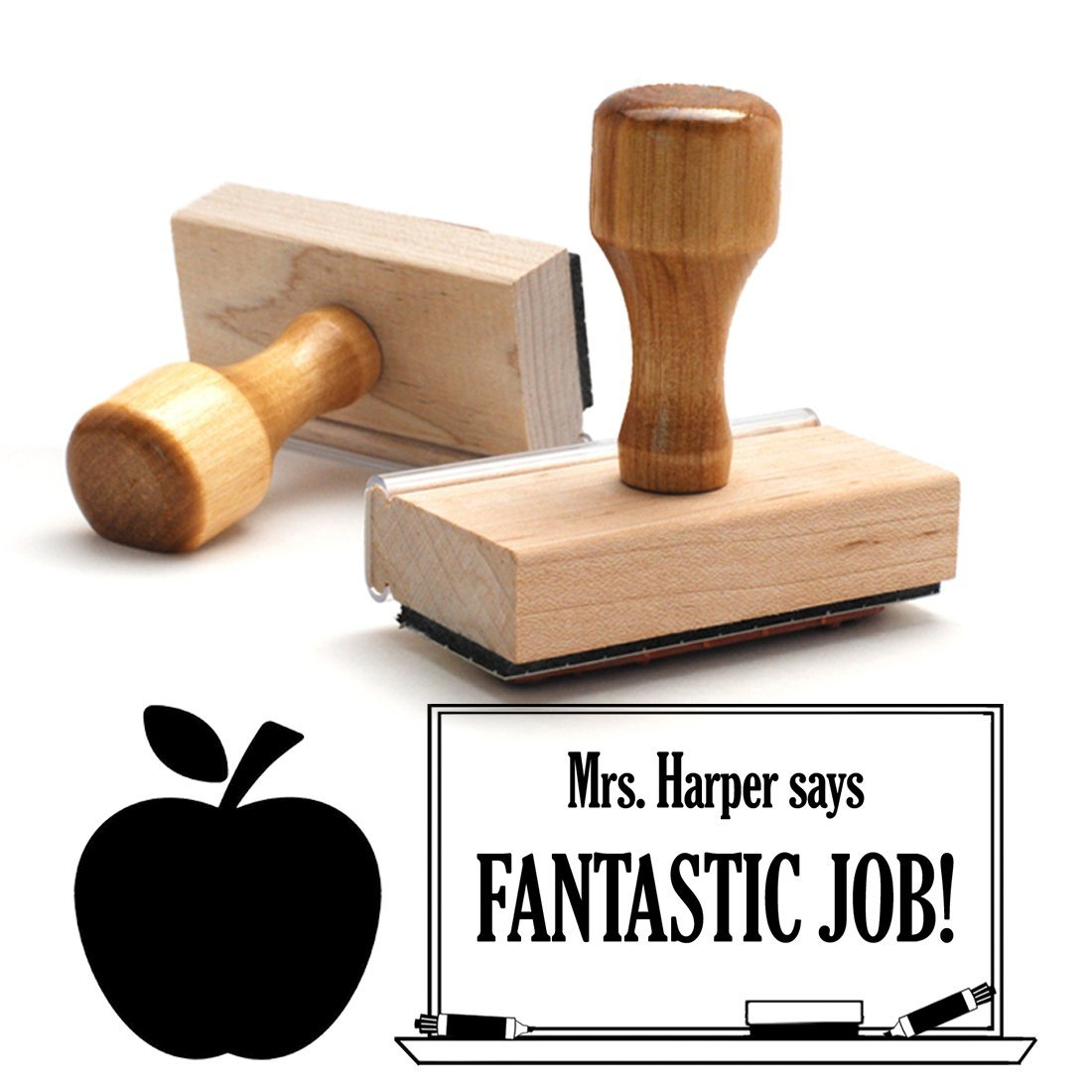 Wooden Handle, Apple Fantastic Job Teacher Stamp, Homework Personalized School Work Stamp, Large 2 Lines, Customized Unique Gift, Personal Classroom Stamper