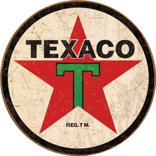 Texaco 1936 Logo Reproduction Round Distressed Retro Vintage Tin Sign