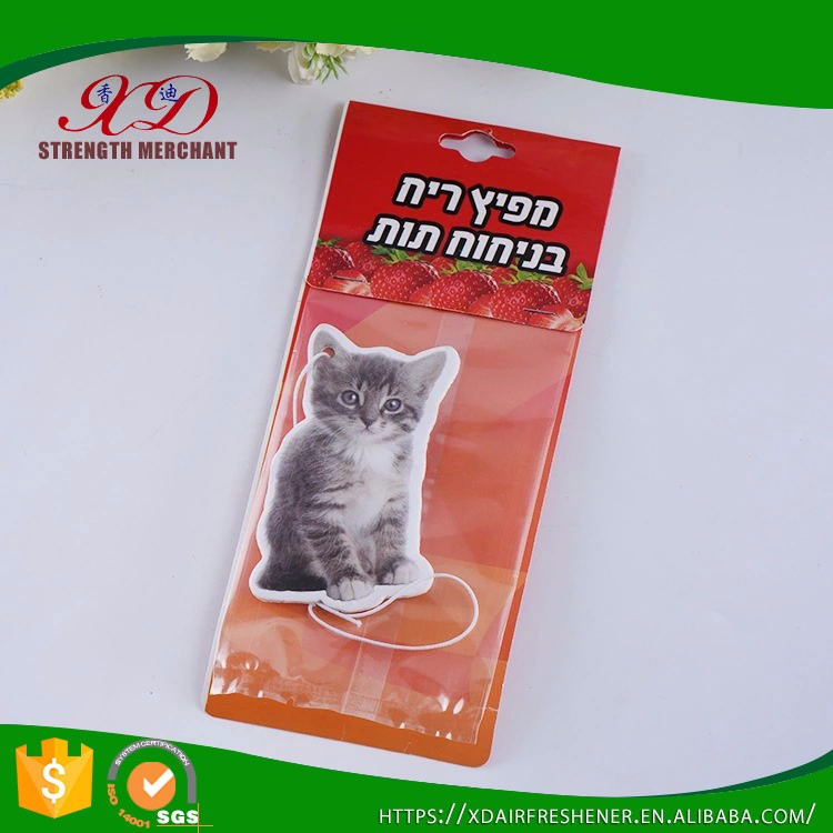 Wholesle Hanging Paper Custom Cat Car Air Freshener for Promotion