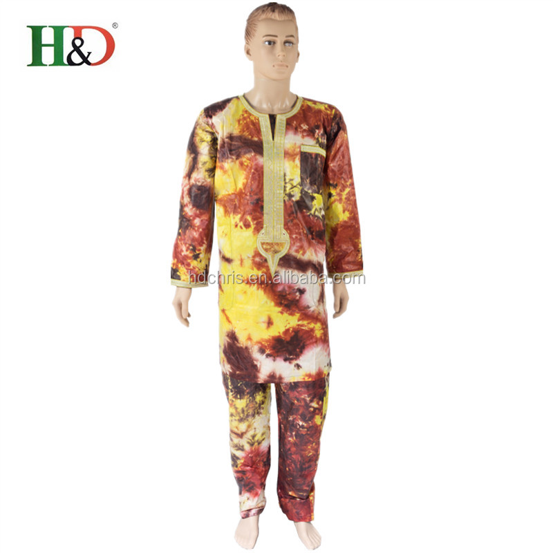2016 new fashion African traditional Bazin tie-dye cotton rich man of men's clothing PH20