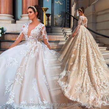 Vestido De Noiva Designer Luxury Full Pearls Wedding Dress Long ...