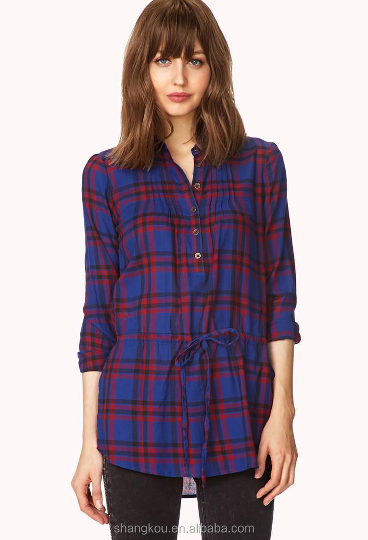 Long Sleeve Plaid Shirt For Women,Women Casual Check Shirt Design ...