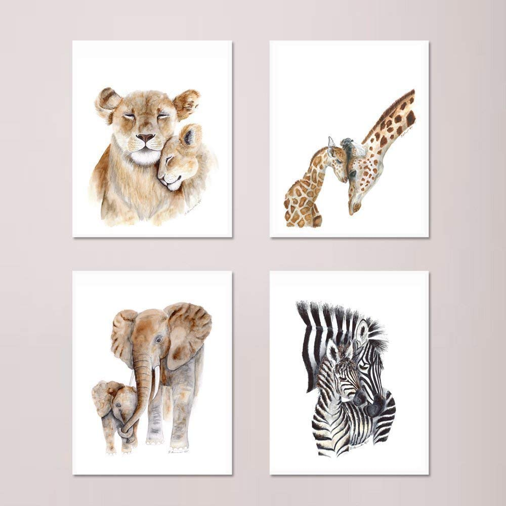 African Mom and Baby Animal Print Set of 4 Prints, Wildlife Prints, Safari Animals included: Mom and Baby Lions, Elephants, Zebras, and Giraffes - Different Sizes Available