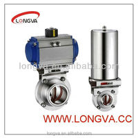 sanitary stainless steel pneumatic actuator butterfly valve