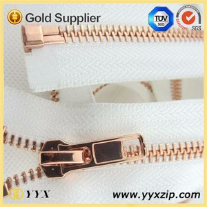 Comfortable light fabric white tape rose gold metal zipper
