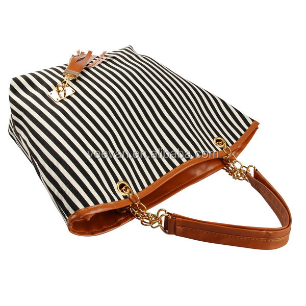 Black Stripe Canvas Beach Tote Bag Wholesale,Cute Beach Tote Bag ...