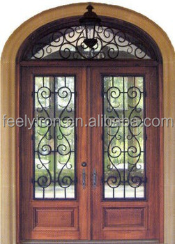 Elegant Wrought Iron Exterior Door Sale With Transom FD 007