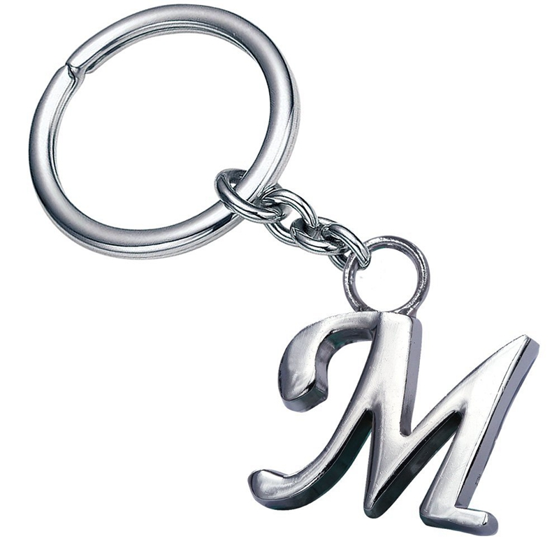 Stylish letter M simple alphabet keychain