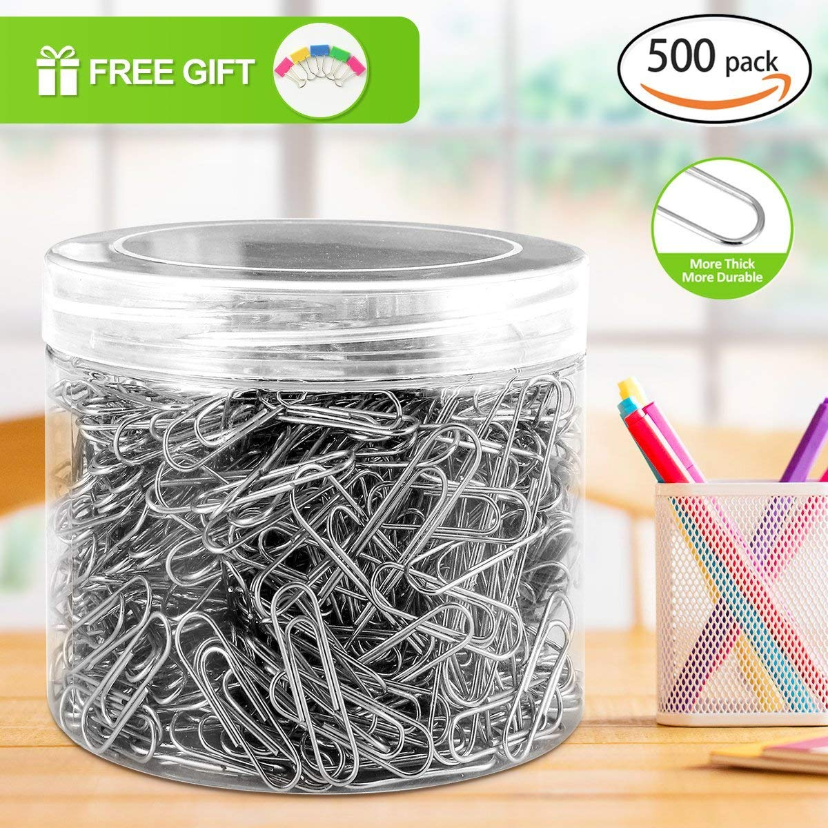 Paper Clips, 500 Pieces Sliver Thick Durable Paperclips, Free Gift for 5 Park Paper Clmps, 400 Pieces Medium Paper Clips and 100 Pieces Jumbo Paper Clips, Easy to Attach and Remove Nonskid Paperclips