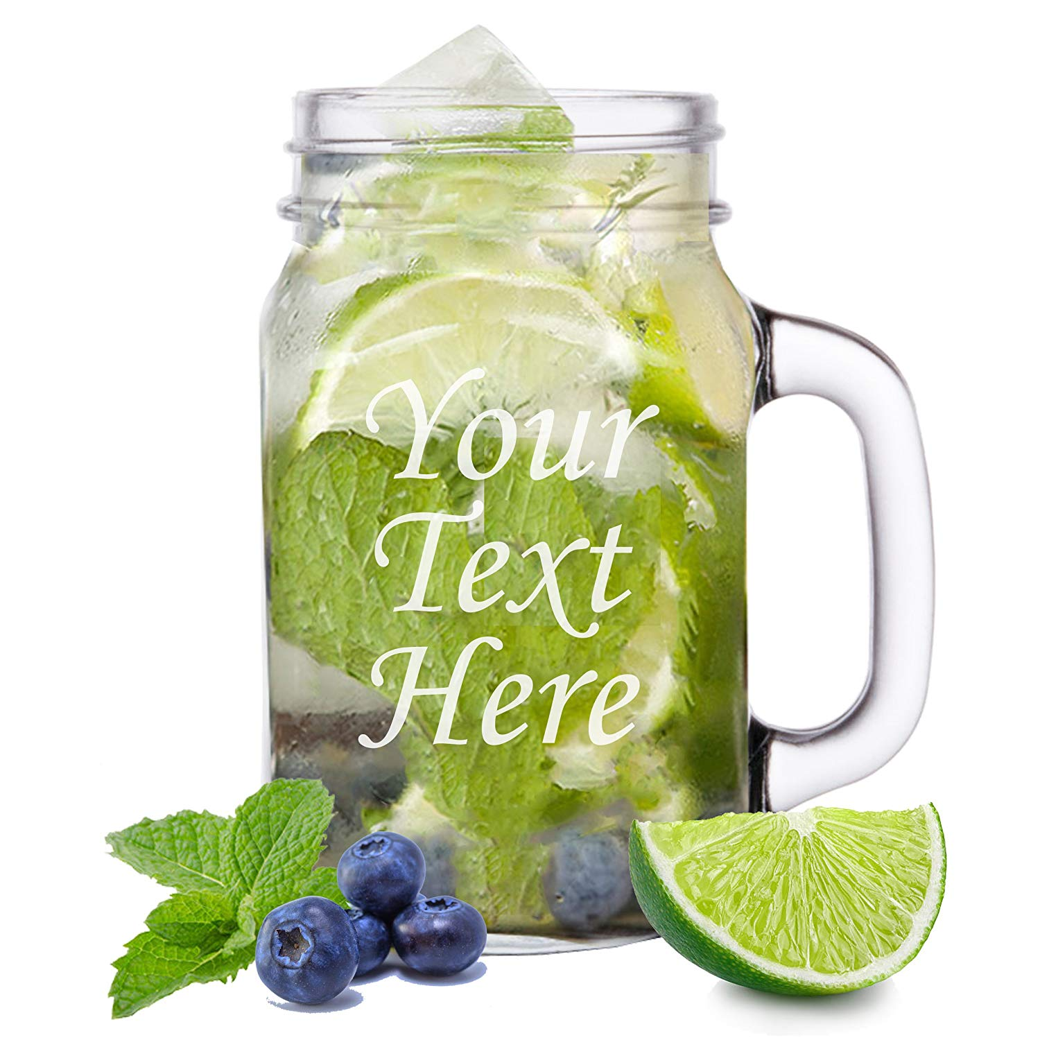 Personalized Glass 16 oz Mason Jar - Engraved With Your Custom Text