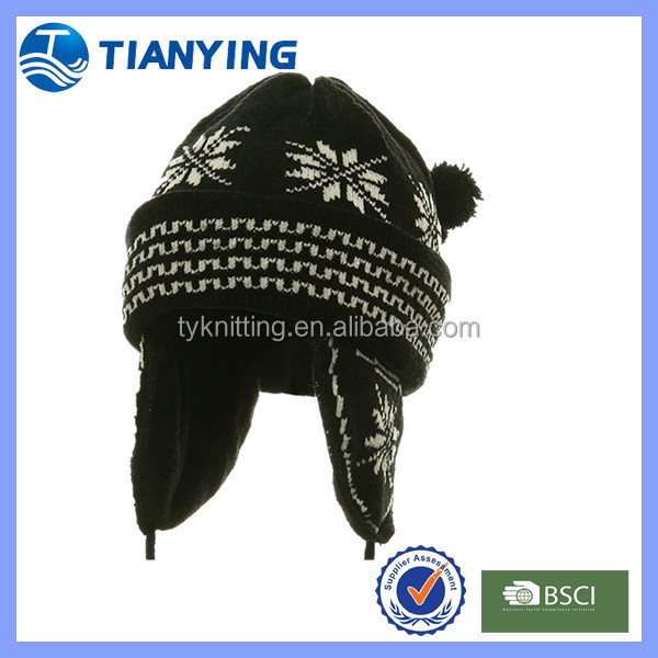 winter knitted earflaps with polar fleece lining