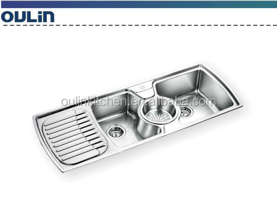 Triple Bowls Kitchen Sink With Drain Board