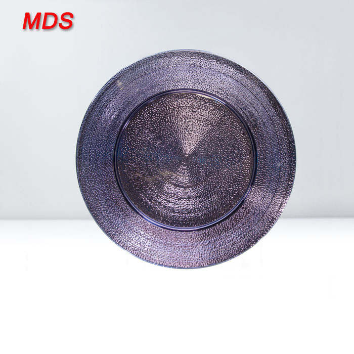 Hot banquet table violet glass charger plates wholesale