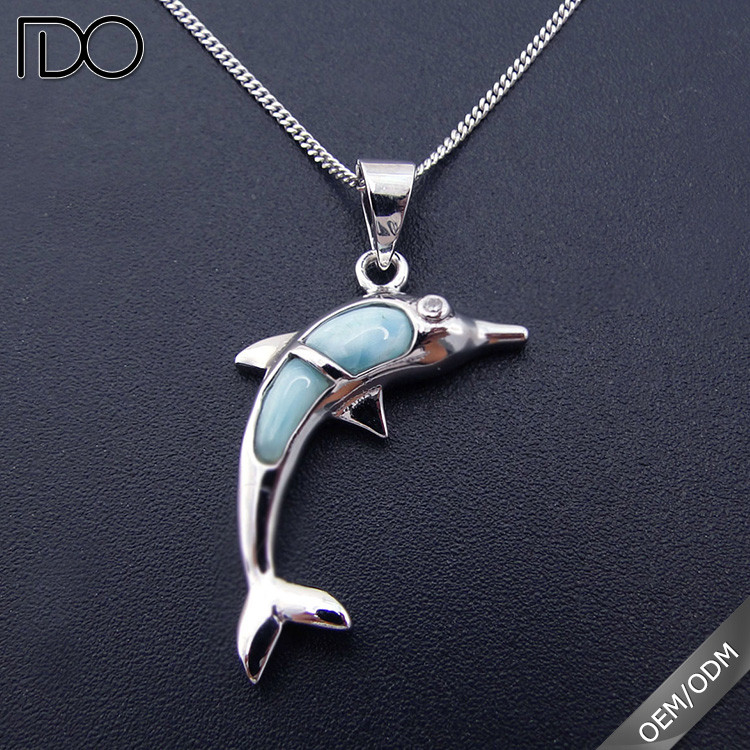 Sterling Silver Ocean Dolphin Pendant with Blue Larimar Inlay Jewelry