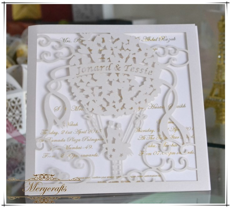 Desain Api Balon Romantis Dan Menghias New Laser Cut Kartu Undangan Pernikahan Mewah Dengan Berbagai Warna