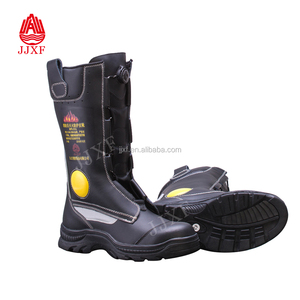 EN standard Fireman fire fighting Black Safety Leather steel toe Boots