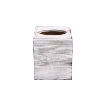 Distressed Honey White Square Tissue Box Cover with Slide-Out Bottom Panel