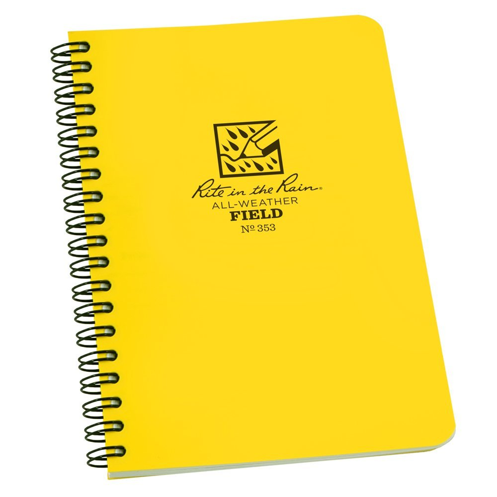 "Rite in the Rain All-Weather Side-Spiral Notebook, 4 5/8"" x 7"", Yellow Cover, Field Pattern(No. 353N)"