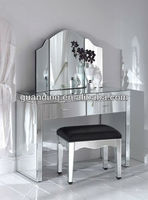 2015latest modern set mirrored dressers with mirror and table